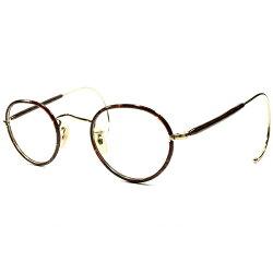 ジョンレノン愛用モデル1940s-1950s英国製MADEINENGLAND初期アルガALGHA金張り×DEMIセル巻きボストンROUNDミドルマウント仕様ヴィンテージメガネ丸眼鏡イギリスUKA4310