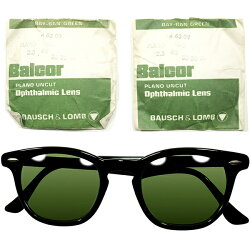 逸品#3レンズ入ALLB&L製極上個体1950s-1960sUSA製MADEINUSAボシュロムB&LBAUSCHLOMBPRE-WAYFARER艶黒ARNEL型ウェリントンWILLYヴィンテージメガネ眼鏡サングラスA4393