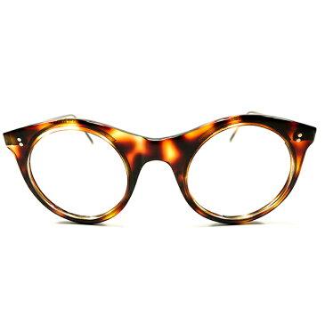 発展途上初期シェイプ デッドストック 1940s 英国製 MADE IN ENGLAND EGG SHAPE クラシックラウンド METAL芯入リム 鼈甲柄 ビンテージヴィンテージ 眼鏡メガネ 丸眼鏡 イギリス UK A2606