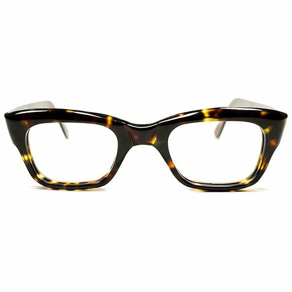 マイケルケインSTYLE! デッドストック 1960s 英国製 MADE IN ENGLAND NO HINGE 肉厚 WIDEテンプル 鼈甲柄 ウェリントン ヴィンテージ メガネ 眼鏡 A3057:THE CLOCKWORKER