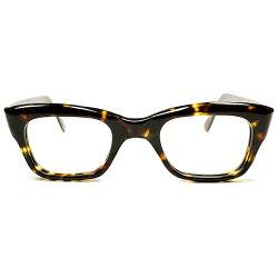 44/24超GOODSIZE&高精度1960sデッドストック英国製MADEINENGLANDマイケルケインSTYLEミニマルウェリントン鼈甲柄ヴィンテージメガネ眼鏡A3057