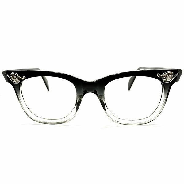 名作! デッドストック 1950s アメリカ製 MADE IN USA アメリカンオプティカル AMERICAN OPTICAL AO ART DECO ヒンジ BLACK FADE ウェリントン ヴィンテージ メガネ 眼鏡 44/20 A3140:THE CLOCKWORKER