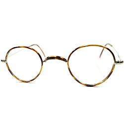 市場皆無デッドストック超GOODSIZE1930sフランス製MADEINFRANCEサイドマウント一山式フロントALLセル巻パントROUNDヴィンテージメガネ丸眼鏡アンティークA3641