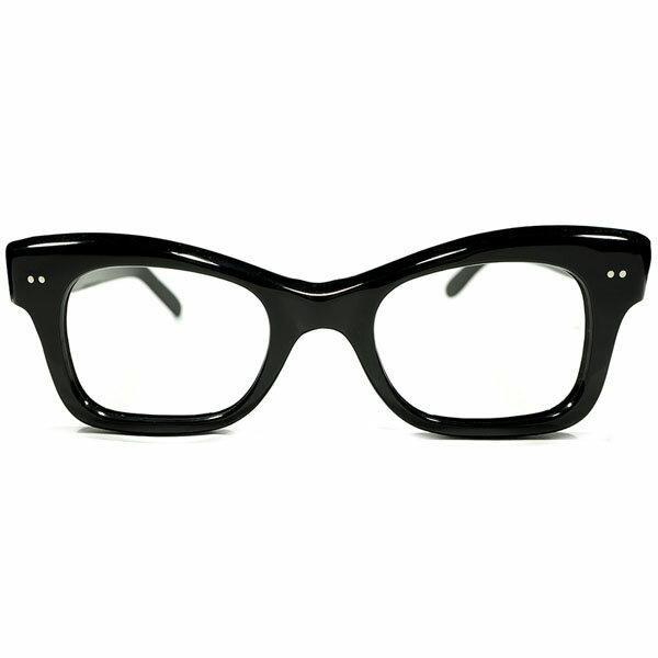 e429f4ebe161a0 絶対的稀少色ブラック 1950s フランス製 MADE IN FRANCE WIDEフロント&WIDEテンプル 傾斜CUTTING  ウェリントンフレーム ヴィンテージ メガネ 眼鏡 A3689