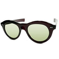芳醇MODERNデザイン&超GOODSIZE個体デッドストック1940sフランス製MADEINFRANCE薄型BORDEAUXリム×ライトGREENガラスレンズ極太ストレートテンプルパントフレームPANTOヴィンテージメガネ眼鏡サングラスA3895