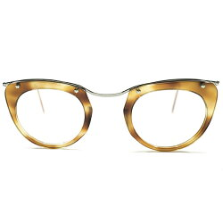 OLDPIECEデッドストック1950sフランス製MADEINFRANCE初期型CLASSICAMORSTYLEアモールAMBER×SILVERコンビネーションメガネ眼鏡A3941