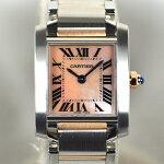 カルティエ/Cartier:タンクフランセーズSMシェル文字盤SS×PGコンビW51027Q4時計腕時計レディース[女性用]【中古】