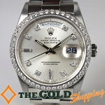 ロレックス/ROLEX:デイデイトプラチナ/ダイヤベゼルOH済18346A時計腕時計メンズ[男性用]中古【中古】