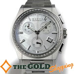 グッチ/GUCCI:パンテオンクォーツクロノグラフホワイトシェル文字盤ダイヤベゼル115.4時計腕時計ボーイズ[男女兼用]中古【中古】
