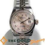 ロレックス/ROLEX:デイトジャストコンピューターピンク文字盤ダイヤインデックス750PGG番OH済179171G時計腕時計レディース[女性用]中古【中古】
