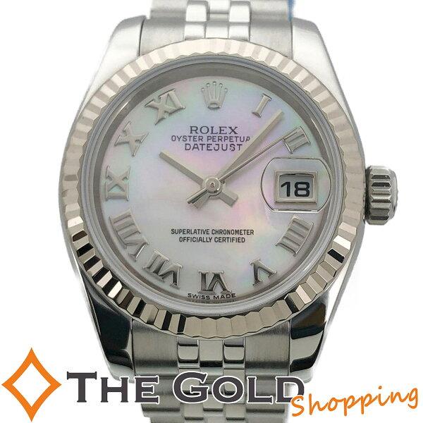 中古 ロレックスデイトジャスト179174NRG番ホワイトシェルSSWGホワイトゴールドコンビ自動巻きROLEX腕時計レディー