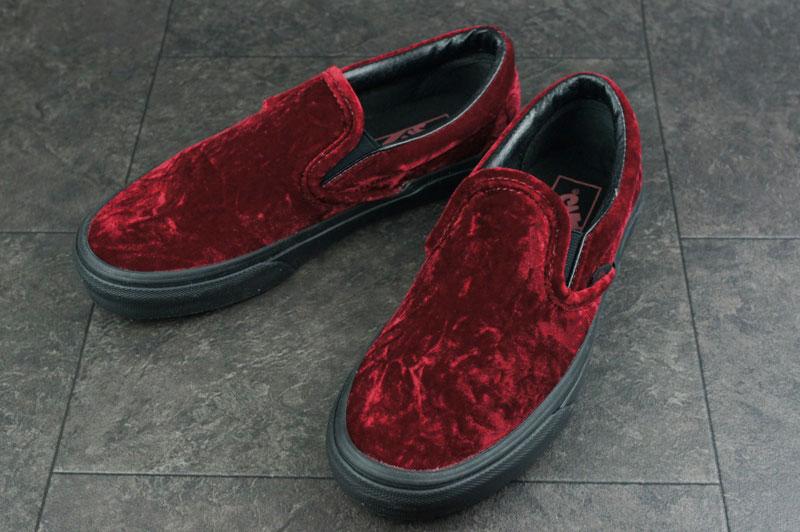 VANS ヴァンズ バンズ CLASSIC SLIP ONクラシック スリッポン(VELVET)OXBLOOD/BLACK(ベルベット)オックスブロッド/ブラックメンズ スリップ 赤 黒 ベッチン スニーカー画像