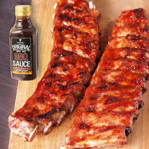 オリジナルBBQソース付!豚スペアリブ(ベービーバックリブ)1.2kg前後 豚肉 ブロック 2ラック入り☆バーベキュー肉の材料に/バーベキューセット 肉 BBQ食材 アウトドア キャンプ-SET151