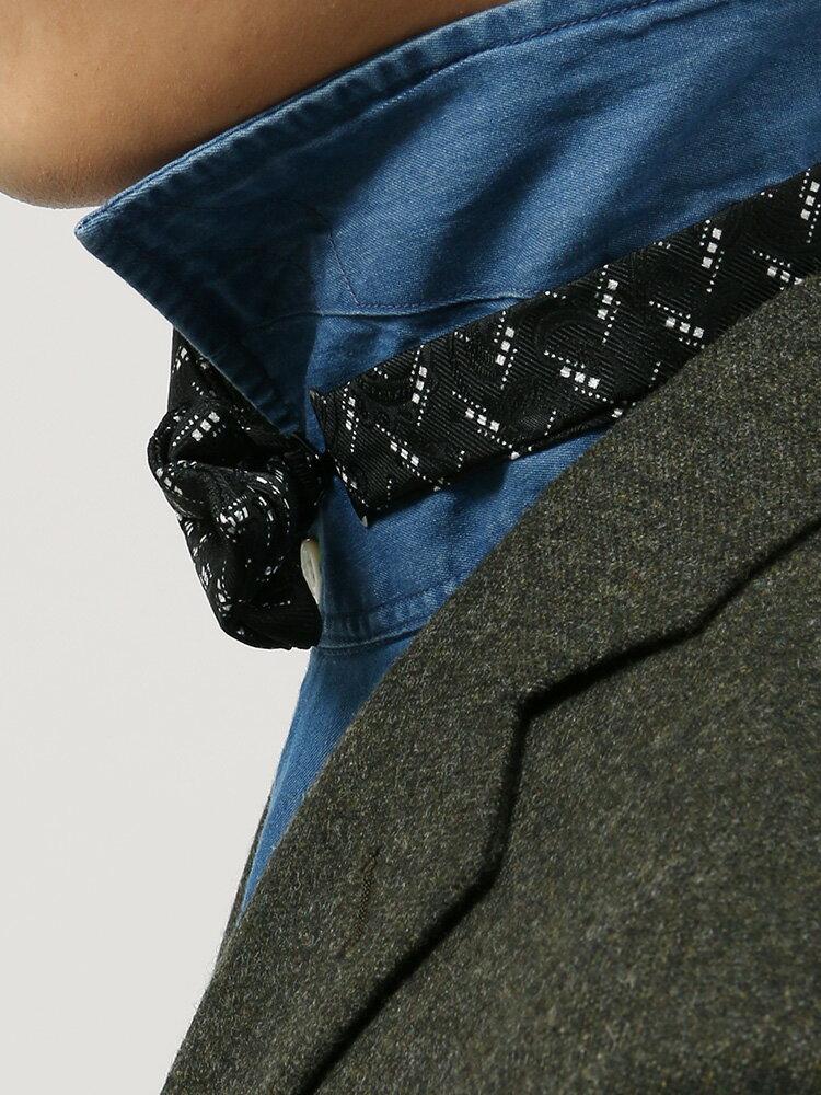 小紋×ペイズリー柄シルク蝶ネクタイブラック×ホワイトザ・スーツカンパニー