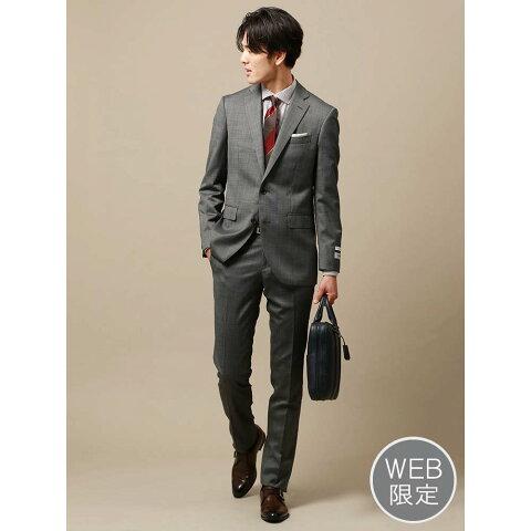 ビジネススーツ/メンズ/通年/WEB限定/ELANCO/CH-14/2つボタンスーツ マイクロパターン ミディアムグレー/ザ・スーツカンパニー