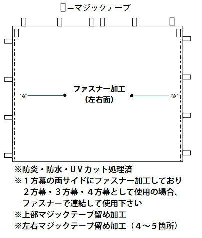 キャラバンワンタッチテント用横幕一方幕L300(カラー)(W300cm×H210cm)
