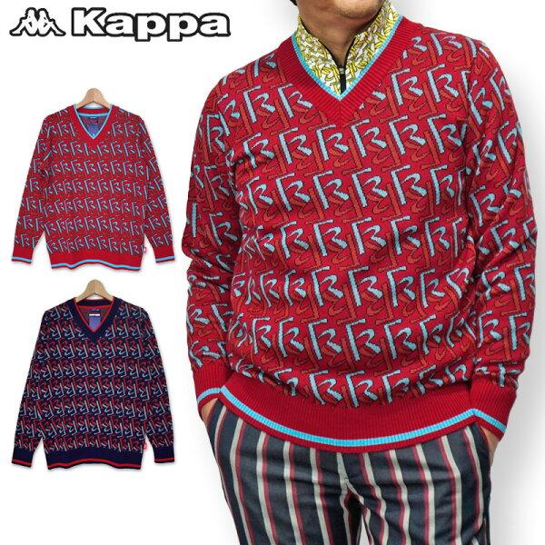 """カッパゴルフファッションデザイナー岩谷俊和氏コラボモデルVネックセーターメンズ保温KC852SW22""""KappaG""""KappaG"""
