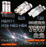 H8/H11H16HB3/9005HB4/9006S25T20SHARP製360度発光75WLEDバルブシングル球ダブル球白光2個セットLEDフォグランプヘッドライトホワイト前方に3個SMD側面に12個SMD