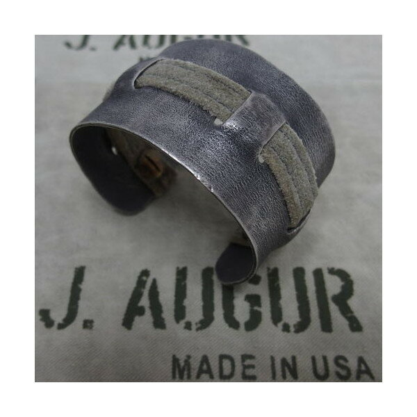 J.AUGUR DESIGN(ジュディ・オーガー デザイン)[Silver With Vintage Leather Brace/Pattern-B] Made in U.S.A.シルバー /アクセサリー/ブレスレット/バングル/Ralph Lauren/ラルフローレン/アンティーク/ヴィンテージ!:アメカジスリーエイト