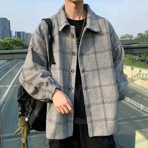 ジャケット メンズ 韓国 ファッション 中学生 高校生 学生 10代 長袖 アウター シャツ チェック おしゃれ ダンス ヒップホップ 3252