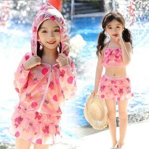 【冷感】子供 水着 女の子 小学生 キッズ 子ども ジュニア 上下セット 長袖 ラッシュガード付き おしゃれ かわいい 韓国 5429