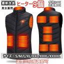 電熱ベスト バッテリー付 日本製 繊維ヒーター 加熱ベスト 電熱ジャケット 9エリア発熱 3段階調温 ヒーター付き ヒーターベスト 速暖電熱ベスト レディース