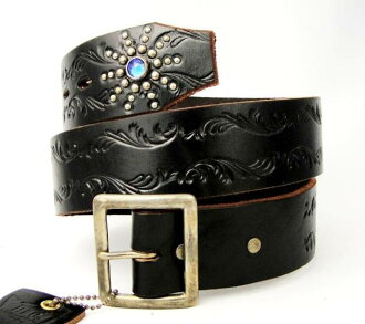 Shipping & cash on delivery fee free regular manual HTC (Hollywood Trading Company) END ONLY EMBOSS BELT (エンドオンリーエンボス belts) black leather x Bluestone fs3gm