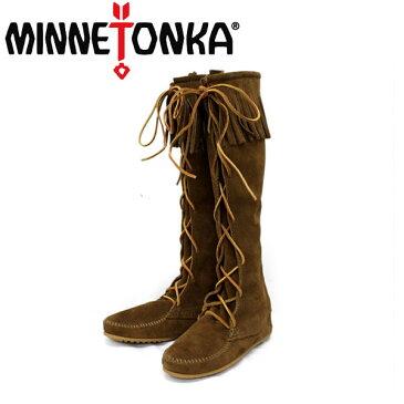 正規取扱店 MINNETONKA(ミネトンカ) Front Lace Hardsole Knee High Boot(フロントレースニーハイブーツ)#1428 DUSTYBROWN MT050