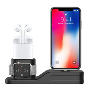 1330e04123 Apple watch スタンド AirPods ホルダー iphone 充電器 充電スタンド 3in1 シリコン 充電 クレードル ドック Apple