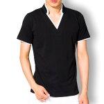 tシャツメンズ半袖Vネックポロシャツレイヤードスタンドカラー無地襟袖ラインキレイめカジュアルトップス黒白MLXL