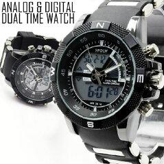 腕時計 メンズ デュアルタイム仕様 アナログ デジタル ビッグフェイス腕時計 メンズ腕時計 父の...