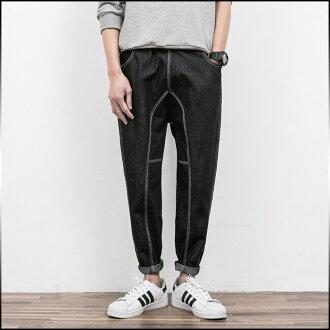 休閒褲 EZ 有限期褲子男裝黑色黑色時尚長褲衣服 * 福