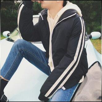 選擇大小和顏色 3 點套男裝外棉夾克拉鍊 2 線簡單休閒男式服裝棉外套