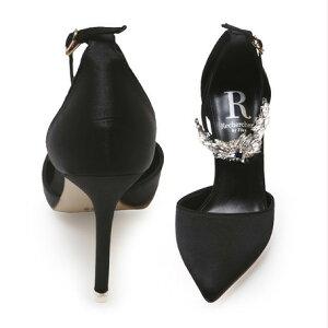 パンプスレディースレディース靴Rechercherルシェルシェストラップビジューブラック靴
