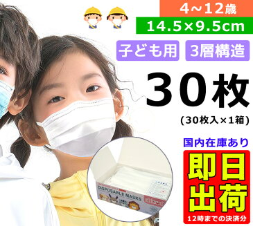 【5月21日発送】【送料無料】 30枚 使い捨てマスク 子供用 マスク 三層構造 ウイルス 花粉対策 キッズ 男女兼用 子ども 30枚セット (1箱30枚) 不織布マスク 立体プリーツ加工 在庫有り