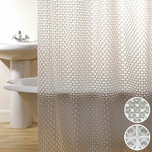 シャワーカーテン 防水 お風呂カーテン ユニットバス バスカーテン 間仕切り 目隠し バスルームプリズム調 レンズ おしゃれ スタイリッシュ 2タイプ(ダイヤモンド・サターン)