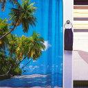 【在庫限り】シャワーカーテン パラダイス 間仕切り カーテン ビニール 防水 お風呂カーテン 防水カーテン おしゃれ かわいい 可愛い 青 ブルー parad