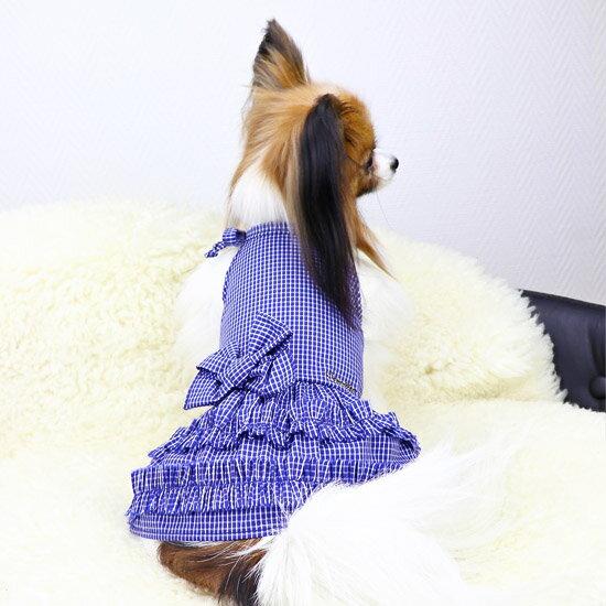 mimtto(ミムット) Blue Plaid Dress (3/4/5)【小型犬 犬服 ウエア ワンピース ドレス セレブ /】