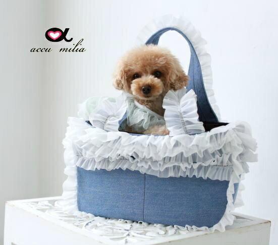 accu milia(アキュミリア) Newエレガント デニムパフキャリー(ホワイトフリル) M【小型犬 犬用 ペット キャリーバッグ セレブ/ 】
