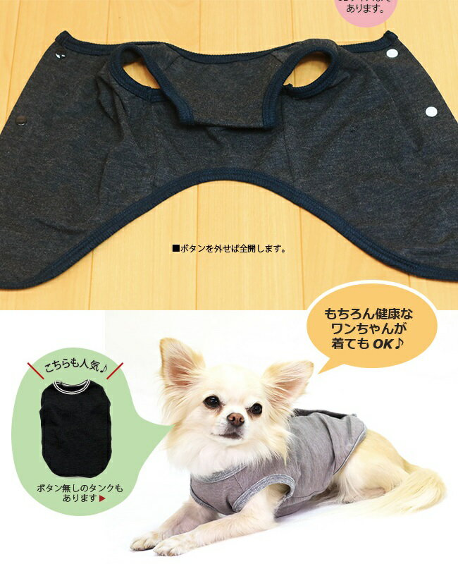 Coo Couture (クークチュール) テラヘルツワン・背中開きタンク(SS-FBL)【小型犬 ウエア/ テラヘルツワン/ 犬 テラヘルツ波/介護補助 犬服 トップス タンク】