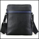 潮牛本革メンズショルダーバッグ斜め掛け水牛革バッファローレザー撥水黒xネイビーパンチング型押飾りiPad対応鞄