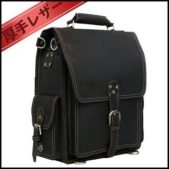 ★ 整理袋終極大體積大 3WAY 男式皮革背包仿古色暗褐色安全扣開閉極厚的天然牛皮皮革背包背包挎包和 16 英寸 PC B4 的衣服和行李存儲旅行箱包袋 10P20Nov15。