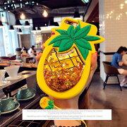 おしゃれ パイナップル フルーツ グリッター スマホケース シリコン アイフォン