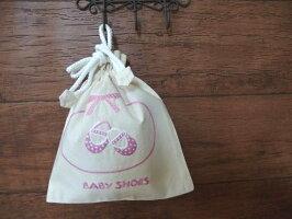 ハンドメイド刺繍巾着Mサイズ(ベビーシューズ/ピンク)