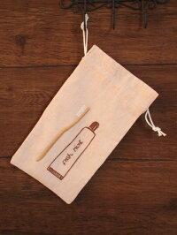 ハンドメイド刺繍&歯ブラシ巾着《オレンジ》