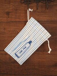 ハンドメイド手刺繍&歯ブラシ巾着《ブルー格子》
