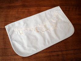 ハンドメイド手刺繍*ランドリー*ジッパーバッグ《水色ストライプ》