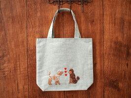 ハンドメイド手刺繍&ミニトートバッグ《プードル/グリーン》