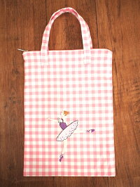 ハンドメイド手刺繍&バレエ*トートバッグ《ピンクチェック/パープル》