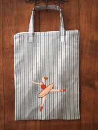 ハンドメイド手刺繍&バレエ*トートバッグ《ブルーストライプB》